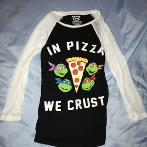 Ninja Turtles In Pizza We Crust Baseball Tee